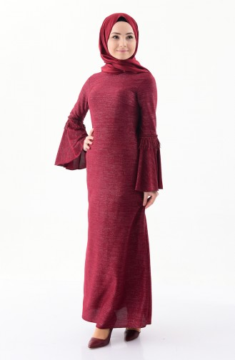 Robe a Paillettes Manches Volante 4249-02 Bordeaux 4249-02
