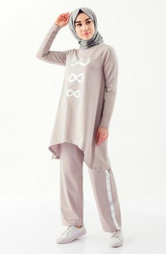 بدلة رياضية بتصميم مُطبع 10310-02 لون بيج 10310-02