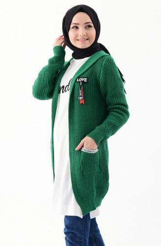 Triko Kapüşonlu Hırka 8048-04 Yeşil 8048-04