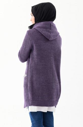 كارديجان موصول بقبعة بتصميم مُحاك8048-06 لون بنفسجي 8048-06