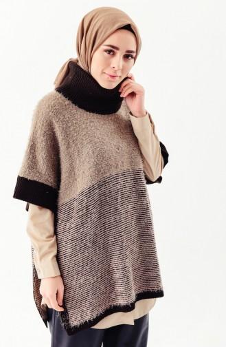 Polo-Neck Knitwear Poncho 8003-01 Mink Brown 8003-01