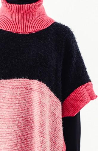 Poncho Tricot 8003-03 Noir Fushia Foncé 8003-03