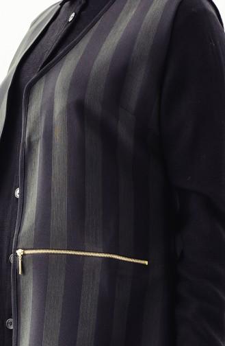 Gilet a Rayure 0110-03 Khaki Noir 0110-03