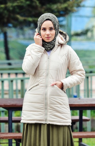 Hooded Padded Coat 1904-01 Beige 1904-01