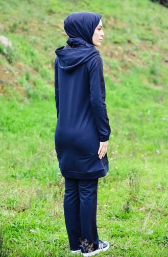 Sefamerve Hoodie Tracksuit Suit 1411-01 Dark Blue 1411-01