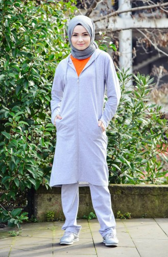 Zippered Hooded Tracksuit Suit 18134-03 Gray Orange 18134-03