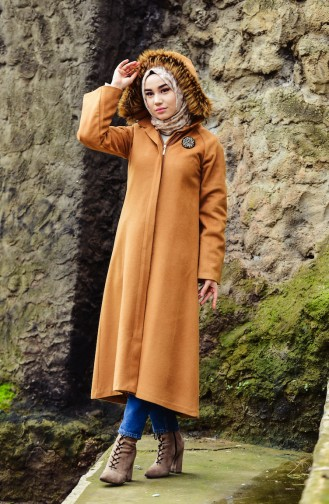 BURUN  Hooded Wool Coat 0602-02 Mustard 0602-02