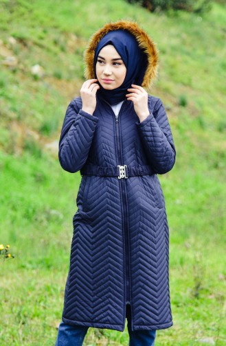 Furry Padded Coat 1902-05 Navy Blue 1902-05