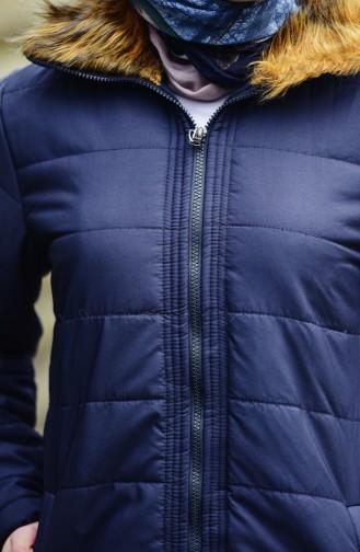 Fur Collar Padded Coat 1906-01 Navy Blue 1906-01