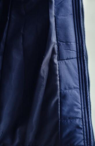 معطف مُبطن بتصميم ياقة مزين بالفرو 1906-01 لون كحلي 1906-01