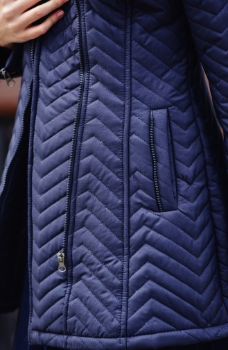Wide Collar Padded Coats 1907-03 Navy Blue 1907-03