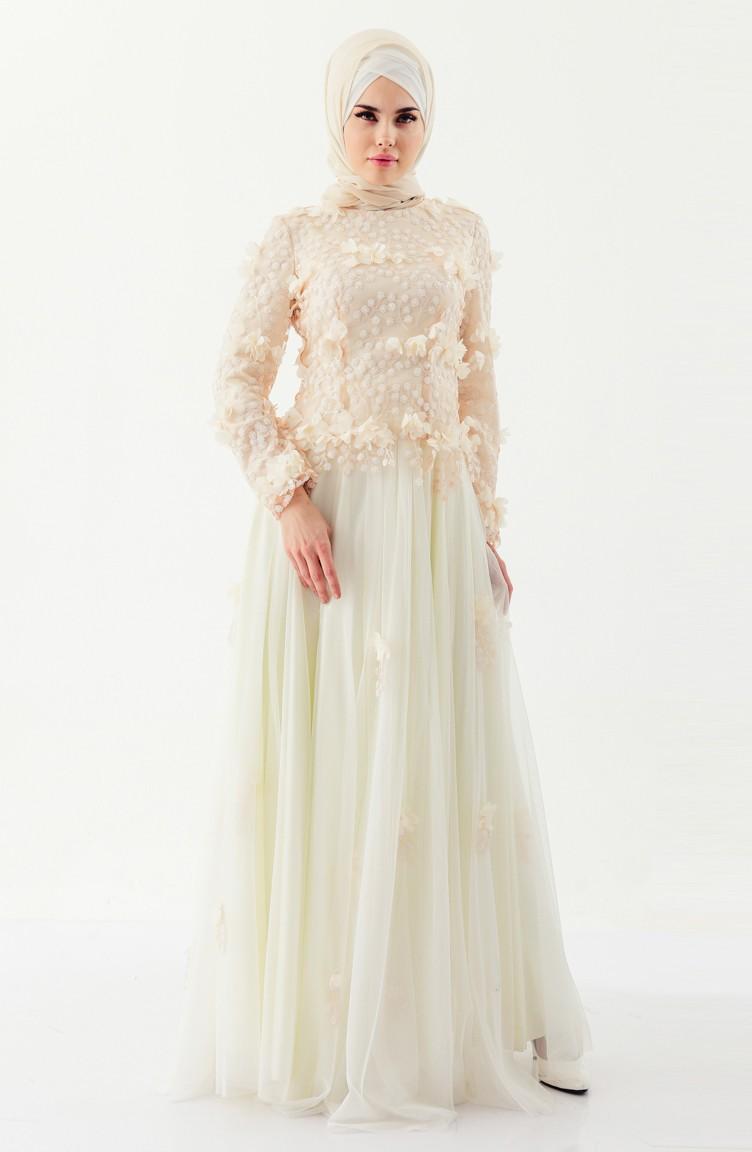 d1c8f324fcc4 Flower Appliqued Evening Dress 8146-01 Cream 8146-01