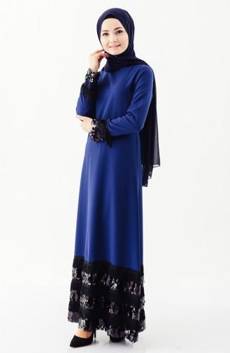 بورون فستان يتميز بتفاصيل من الشراشيب وترتر 81639-02 لون كحلي 81639-02