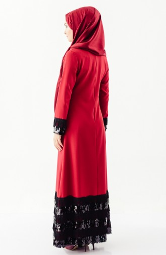 Püsküllü Elbise 81639-03 Bordo