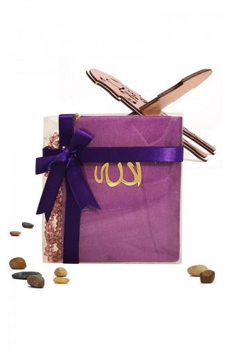 Velvet Covered Yasin with Gift Rosary Prayer Beads 3002-01 Purple 3002-01