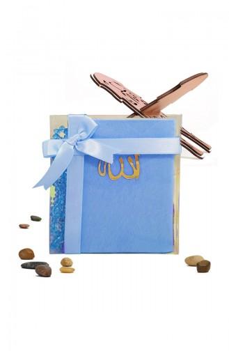 Velvet Covered Yasin with Gift Rosary Prayer Beads 3006-01 Turquoise 3006-01