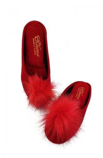 Women s Pompon Slipper Pnr01-02 Red 01-02