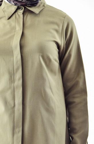 قميص قميص بأزرار لون كاكي 0694-06