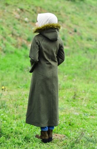 BURUN  Hooded Wool Coat 0602-01 Khaki 0602-01
