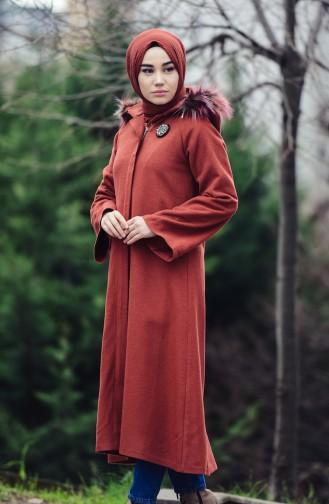 بورون معطف صوف بتصميم موصول بقبعة 0602-03 لون قرميدي 0602-03