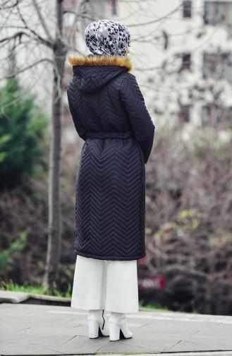 Furry Padded Coat 1902-02 Black 1902-02