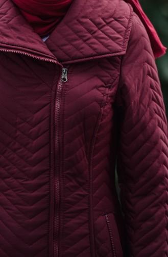 معطف مُبطن بتفاصيل ياقة واسعة 1907-01 لون خمري 1907-01