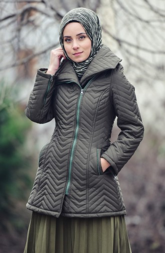 Wide Collar Padded Coats 1907-02 Khaki 1907-02