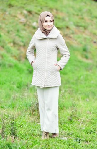 Wide Collar Padded Coats 1907-04 Beige 1907-04