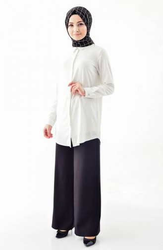 Düğme Detaylı Bol Paça Pantolon 3125-02 Siyah