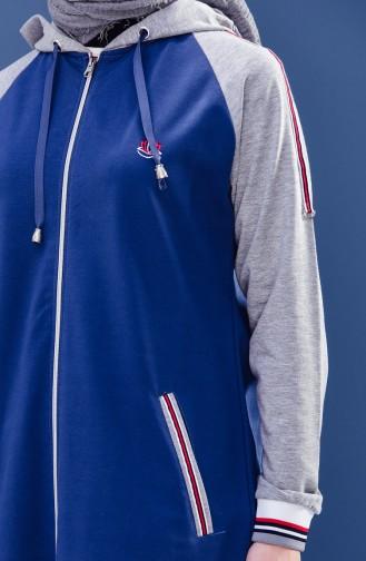 Zippered Tracksuit Suit 5010-03 Indigo Gray 5010-03
