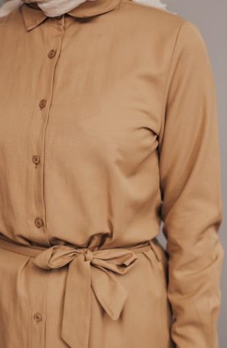 Minahill Buttoned Belted Tunic 8204-03 Mustard 8204-03