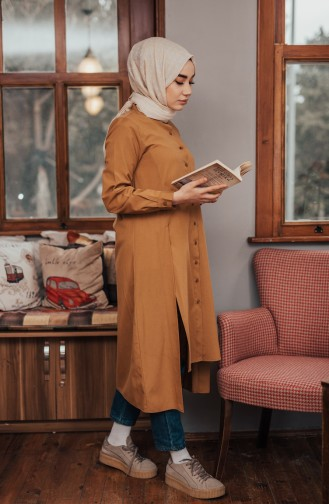 Slit Detailed Buttoned Tunic 8107-07 Mustard 8107-07