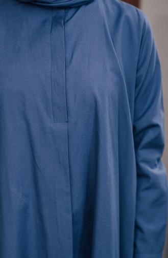 تونيك بتصميم أزرار مخفية 8108-06 لون نيلي 8108-06