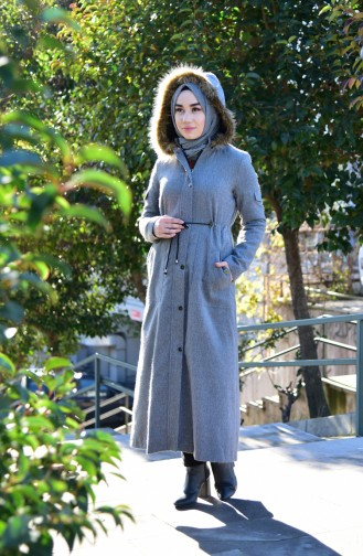 Mantel mit Pelz 6776A-01 Grau 6776A-01