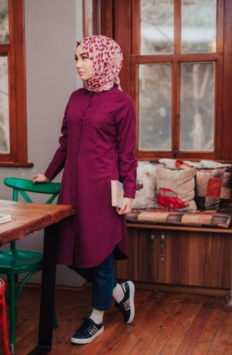 Pocketed Button Tunic 8202-02 Plum 8202-02