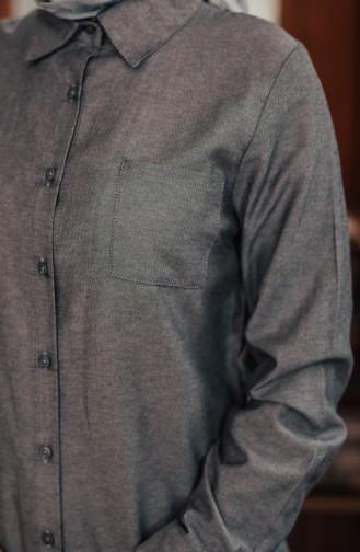 Minahill Pocketed Button Tunic 8202-08 Gray Black 8202-08