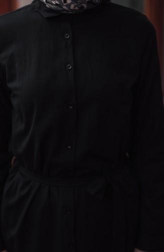 Düğmeli Kuşaklı Tunik 8204-06 Siyah 8204-06