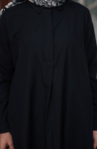 تونيك بتصميم أزرار مخفية 8108-05 لون أسود 8108-05