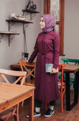 Minahill Buttoned Belted Tunic 8204-05 Damson 8204-05