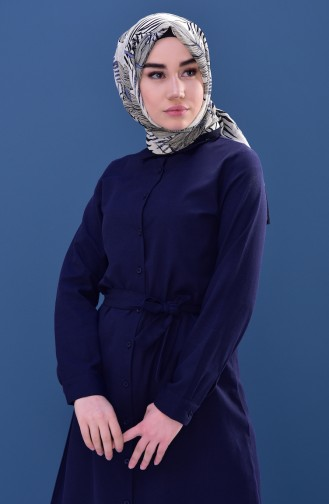 Minahill Buttoned Belted Tunic 8206-04 Navy Blue 8206-04