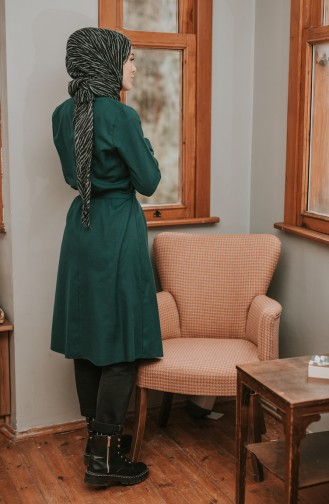 Buttoned Belted Tunic 8206-07 Emerald Green 8206-07