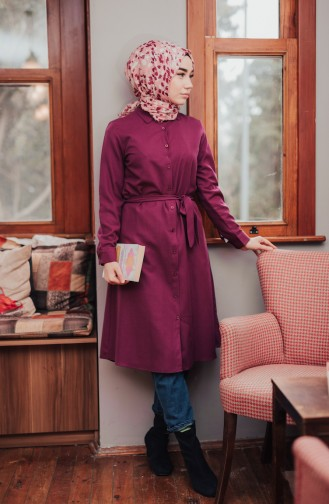 Buttoned Belted Tunic 8206-09 Damson 8206-09