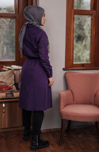 Minahill Buttoned Belted Tunic 8206-10 Purple 8206-10