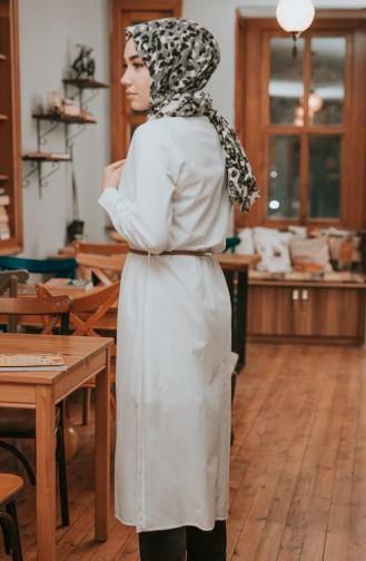 Kemerli Düğmeli Tunik 8207-09 Beyaz