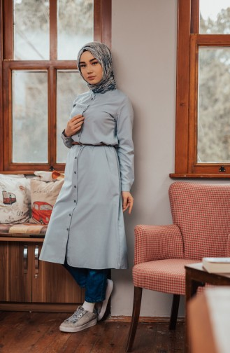 Minahill Belted Buttoned Tunic 8207-10 Gray Blue 8207-10