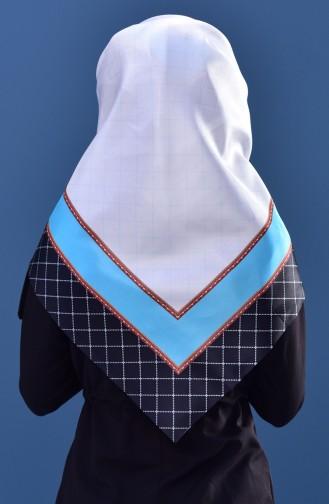 Echarpe Taffetas a Motifs Géométrique 95151-02 Blanc Turquoise 95151-02