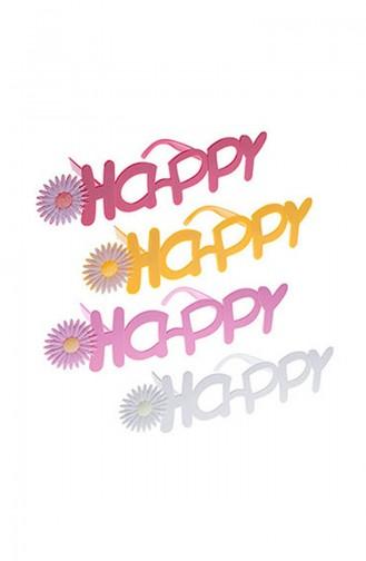 Renkli Çiçekli Happy Kutlama Gözlük KM-PRT-0503