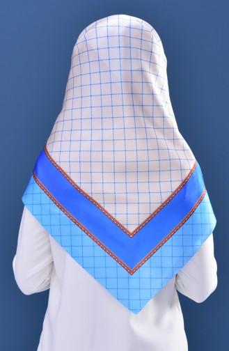 Echarpe Taffetas a Motifs Géométrique 95151-03 Creme Bleu 95151-03