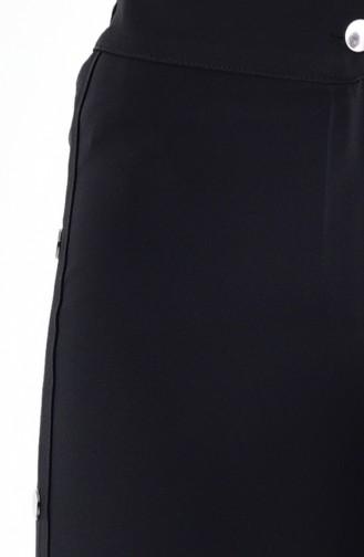 Çıtçıtlı Pantolon 3130-02 Siyah