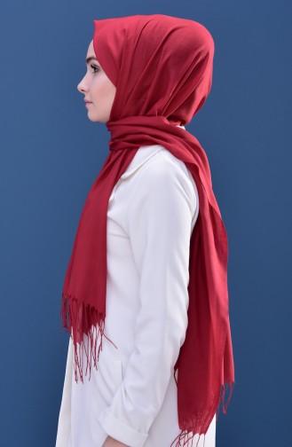 Plain Tasseled Shawl 60080-35 Koyu Kırmızı 60080-35